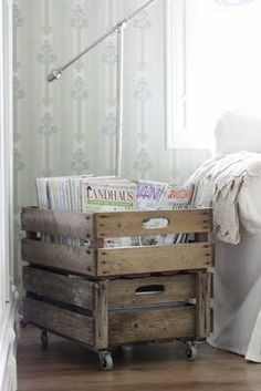 add castor wheels to an old crate for shabby chic look