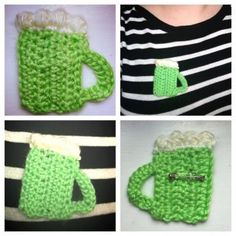 St. Patrick's Day Crochet Green Beer Brooch Pin by NotYourAverageHooker for $10.00