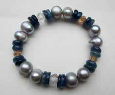 "Natural Kyanite Pearl Quartz Crystal Stretch Healing Bracelet Handmade USA 7"" #Handmade #Beaded"