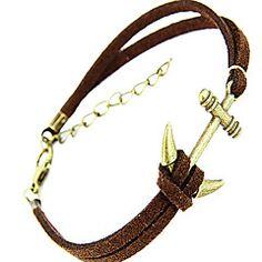 moda piccolo ancoraggio in pelle forma braccialetto di fascino maschile (1 pz)