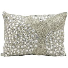 Jewelry for your room, this elegantly handcrafted rhinestone, bead and embroidered pillow adds a touch of sparkle to your day. This pillow does not require an insert and is fully stitched on all sides.