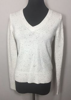 Old Navy M Sweater Beige Speckle Wool Off White #OldNavy #VNeck