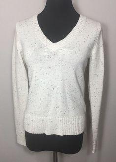 Old Navy M Sweater Beige Speckle Wool Off White #OldNavy #VNeck
