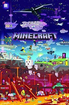 Trends International Wall Poster Minecraft World x Unframed Version Images Minecraft, Minecraft World, Minecraft Posters, Minecraft Banner Designs, Minecraft Banners, Minecraft Houses, Creeper Minecraft, Minecraft Crafts, Minecraft Kunst