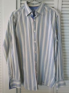 Tommy Bahama Denim Blue & White Striped Men's Long Sleeve Button Front Shirt  #TommyBahama #ButtonFront #TommyBahamaDenim #FlipCuff #Menswear #MensShirts #LoveIt #SoNice #BuyItNow #ebay #etsy