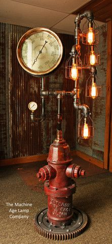 Steampunk Industrial Fire Hydrant, Steam Gauge Floor Lamp #611