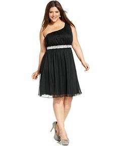 a949a1a897683 Trixxi Plus Size One-Shoulder Embellished Dress Plus Sizes - Dresses -  Macy s