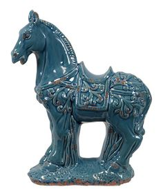 Take a look at this Turquoise Horse Figurine by Urban Trends Collection on #zulily today!