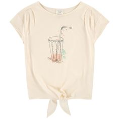 Modal and cotton jersey Pleasant to the touch Light item Crew neck Loose collar Short sleeves Strings to tie on the front Front print Small logo patch on the heels - 25,18 €