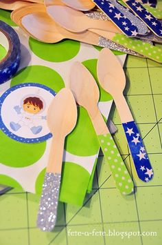 DIY embellished wood spoons - Astronaut Party - Preparing to take off on a very special space mission!!by Fête à Fête