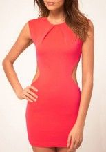 Red Midriff Costume Round Neck Skinny Polyester Dress