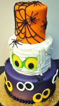Halloween cake. Might be overkill? But I like the idea and theme of each tier -