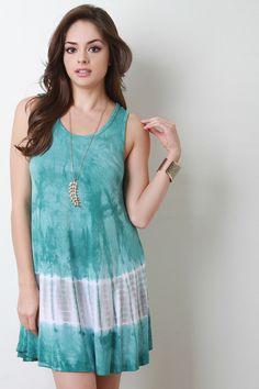 Sleeveless Tie Dye Shift Dress