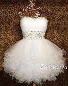 White Sweetheart Ball Gown Short Prom Dresses, Homecoming Dresses – 24prom #prom #promdress #homecoming #dress #formaldress #promdresses
