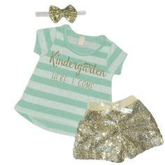 Bump and Beyond Designs First Day of Kindergarten Outfit Girls Kindergarten T-Shirt Back to School Clothes Day of School Outfit Ice Green Kindergarten Outfit, Kindergarten Shirts, Kindergarten First Day, Kindergarten Rocks, First Birthday Outfits, Girl First Birthday, Birthday Shirts, 5th Birthday, Birthday Ideas