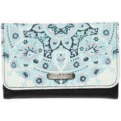 Billabong Think Twice Wallet ($15) ❤ liked on Polyvore featuring bags, wallets, bleached aqua, aqua wallet, leather bags, billabong bag, coin bag and coin wallet