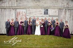 Eggplant wedding, purple cream and greenery bouquets.  Purple and grey wedding.  Roses, calla lilies, lisianthus bouquets.  Barn background.
