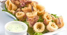 fried with homemade Greek sauce Deep Fried Calamari, Calamari Squid, Greek Sauce, Greek Appetizers, Tapas, Eastern Cuisine, Herd, Mediterranean Recipes, Greek Recipes