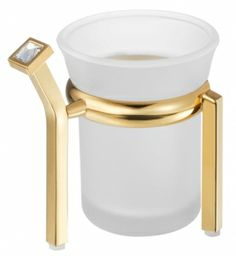 The gold toothbrush tumbler of Prestige collection is made of high quality brass galvanized with 24-karat gold and decorated with Swarovski® crystals. It is made of thick milky/matt glass. The product is certified with 12 year guarantee. The colours of the crystals suggested by the company: clear crystal, blue, grey, sandy*/beige. www.sancodesign.eu