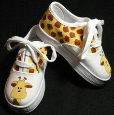 I love these... I'm so making them for the boys - different animals of course and Walmart has those white tennis for 5$