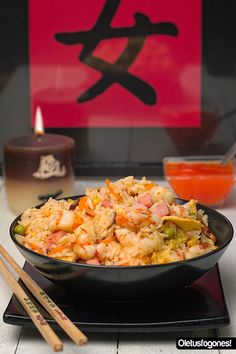 Arroz tres delicias   La receta más conocida de la cocina china y tan fácil de preparar, ¿a qué esperas? :)