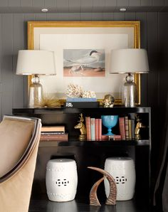 Graciela Rutkowski Interiors - Chic vignette with glossy black lacquer console table, ...