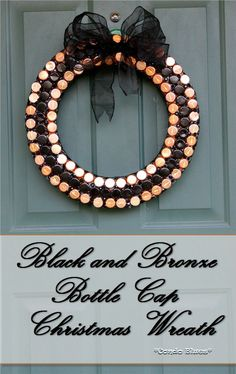 Christmas decor ideas: Black, Copper, and Bronze Recycled Bottle Cap Christmas Wreath