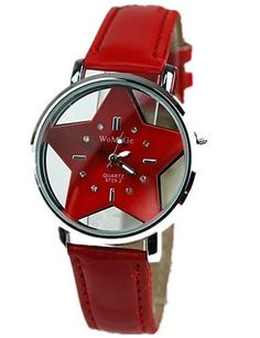 SKLIT Frauen die hohle transparente Doppelglas-Sterne rote Lederband Uhr beobachten - http://uhr.haus/sklit-watches/sklit-frauen-die-hohle-transparente-doppelglas