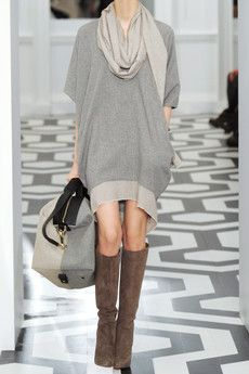 victoria beckham cashmere sweater dress and christian louboutin harletty 140 suede knee boots