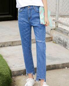CW67155 Burr Korean style pants nine tenths slim jeans for women