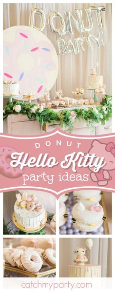 Maxine T's Birthday / Donut and Hello Kitty Birthday - Donut + Hello Kitty Birthday at Catch My Party 2nd Birthday Parties, Girl Birthday, Birthday Ideas, Theme Parties, Birthday Board, Hello Kitty Cake, Hello Kitty Birthday, Kitty Party, Donut Party