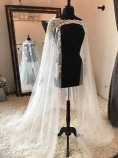 Bridal Wedding Cape Veil With Lace multiple lace choices Wedding Cape Veil, Wedding Jacket, Bridal Cape, Wedding Veils, Bridal Gowns, Wedding Dresses, Lace Wedding, Plus Size Wedding, Wedding Trends