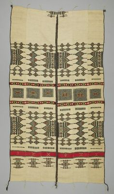 For the Bed OBJECT NAME:Blanket LOCAL NAME:khasa PLACE MADE:Africa: West Africa, Mali PEOPLE:Fulani, also called Fulbe (pl. Pullo) or Peul PERIOD:Mid 20th century DATE:1950 - 1970 DIMENSIONS:L 220 cm x W 128 cm MATERIALS:Wool TECHNIQUES:Hand-spun; dyed; strip woven; plain woven; supplementary weft; hand-sewn