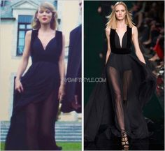 """Blank Space"" music video  Elie Saab Fall 2014  Slightly augmented from the deep plunging neckline that took to the runway, Taylor still looks oh-so sultry in this flowing Elie Saab gown."