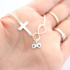 Sideways cross necklace Personalized with Initial Or by MonyArt, $34.50
