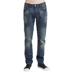 """EMP Black Premium -malliston siniset """"Jake""""-farkut sopivat joka tilanteeseen! Niissä on cool vintage-tyyli, kulutuksia ja normaali leikkaus. 85% puuvillaa, 15% polyesteria."""