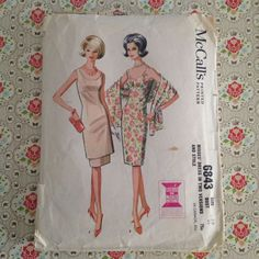 McCall's vintage 1960s pattern 6843 is for a scooped neck, sleeveless sheath dress or tunic dress and stole. Either version is high waisted, has three-gore semi-fitted skirt (and tunic if used). Upper part of tunic dress skirt is made of lining fabric; bodice and tunic or sheath dress may be lined. Either dress has center back zipper; low pleat at back of sheath skirt or tunic dress skirt. Stole is faced with self fabric.