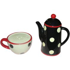 Polka Dot Cup and Pot Salt and Pepper Shakers - b157