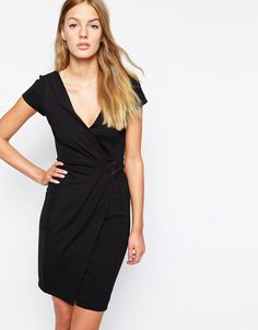 French Connection Jennifer Tux Bodycon Dress with Wrap Front