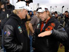 Russell Crowe and Greg Norman at an Exhibition match, Rabbitohs v Leeds Rhinos. University of North Florida, Jacksonville.