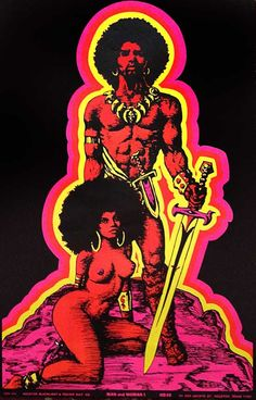 man and woman black light poster