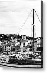 Fine art black and white photography - Harbor Boats in the South of France - by Georgia Fowler   Cassis is a quaint coastal town east of Marseilles in the Cote d'Azur area of France.  The main industry here now is tourism and wine making with travellers from Europe and all over the world visiting especially during the summer months.  The picturesque harbor is filled with fishing, sailing and small pleasure boats. Larger cruise ships moor further out in the Mediterranean waters and then sail…