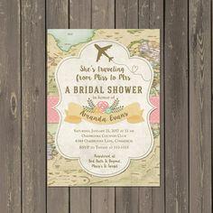 5x7 Travel Themed Bridal Shower Invitation - Travel Theme - Map ...