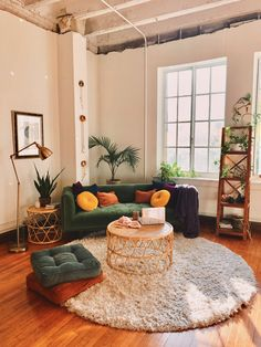 Yellow Couch, Living Room Goals, Interior Decorating, Interior Design, Bohemian Interior, Boho Decor, Vintage Rugs, Shag Rug, Indoor