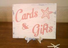 Wedding Sign Wood Cards Sign Beach Wedding Decoration CARDS & GIFTS with Starfish Maui Wedding, Tropical Wedding Decor