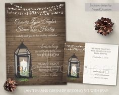 Lantern Wedding Invitation Set Rustic Wedding by NotedOccasions. Romantic greenery wedding invitation set with greenery surrounding a metal lantern. This hand-crafted design features greenery on a country barn wood background and is completed with creative fonts and wording layout.