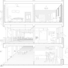 Multi-family House Section Perspective - Urban Cloister Project by Daisy Ames and Wanli Mo