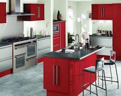 cocinas decoradas con rojo, blanco y negro - Buscar con Google