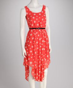 Take a look at this Coral Star Belted Dress by Orange Zone Inc. on #zulily today! $14.99, regular 38.00