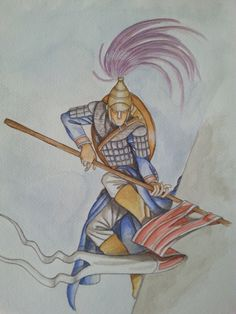 Warrior from the past. Watercolor.
